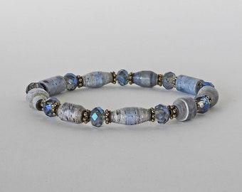 Stony Blue - Handmade Paper Bead Bracelet & Earrings