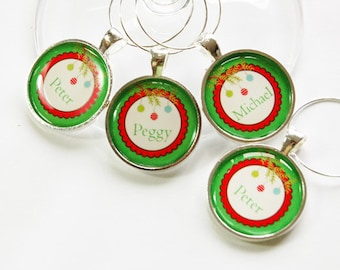 Personalized wine charms, Christmas Wine Charms, Wine Charms, custom, Wine Glass Charms, Green, Red, stocking stuffer, wine lover (2871)