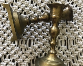 Pair of vintage solid brass candleholders