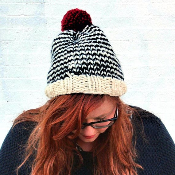 Knit Striped Pom Pom Beanie Hat - Cream, Navy, and Cranberry