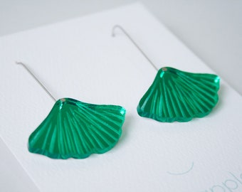 Ginkgo leaf dangle / drop earrings   Green mirror   Laser etched and cut acrylic   Handmade