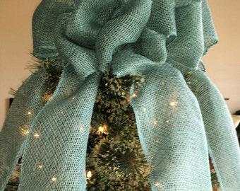 Teal Blue Burlap Christmas Tree Topper Bow, Rustic Topper, Shabby Chic Tree, Rustic Christmas Bow, Primative Burlap Topper