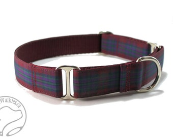 """Pride of Scotland Autumn Tartan Dog Collar - 1"""" (25mm) wide - Martingale or Side Release - Choice of collar style and size - Burgundy Plaid"""
