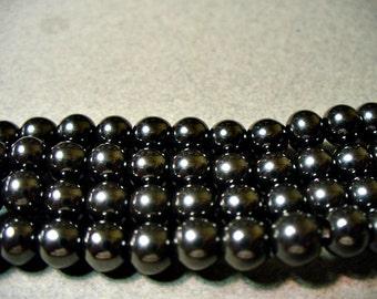 Hematite Beads Gemstone Silvery Black Round 6mm