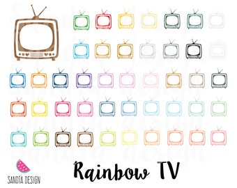 43 Rainbow TV clipart. Personal and comercial use.
