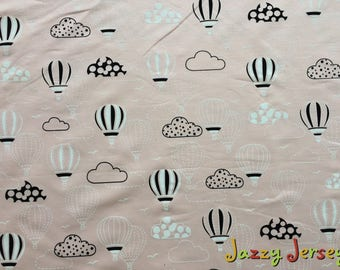 Pink hot air balloons french terry knit fabric