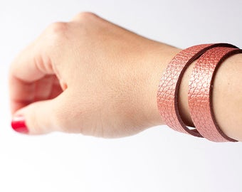 Leather Bracelet / Slim Wrap Cuff / Vintage Peach Glow