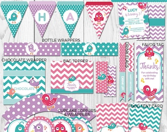 Little birds Decorations - Printable Birthday party Girl Party Package - Instant Download - Invitation Available