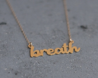Gold Breath Charm Necklace, Meditative Necklace, Breath Jewelry, Breath Pendant, Yoga Necklace, Mindfulness Necklace, Typographic Necklace