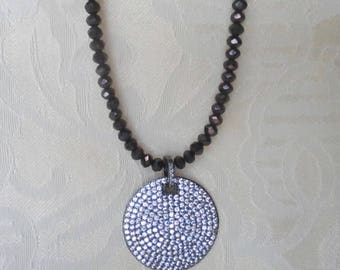 Crystal Beaded Necklace with Pave CZ Disc Pendant