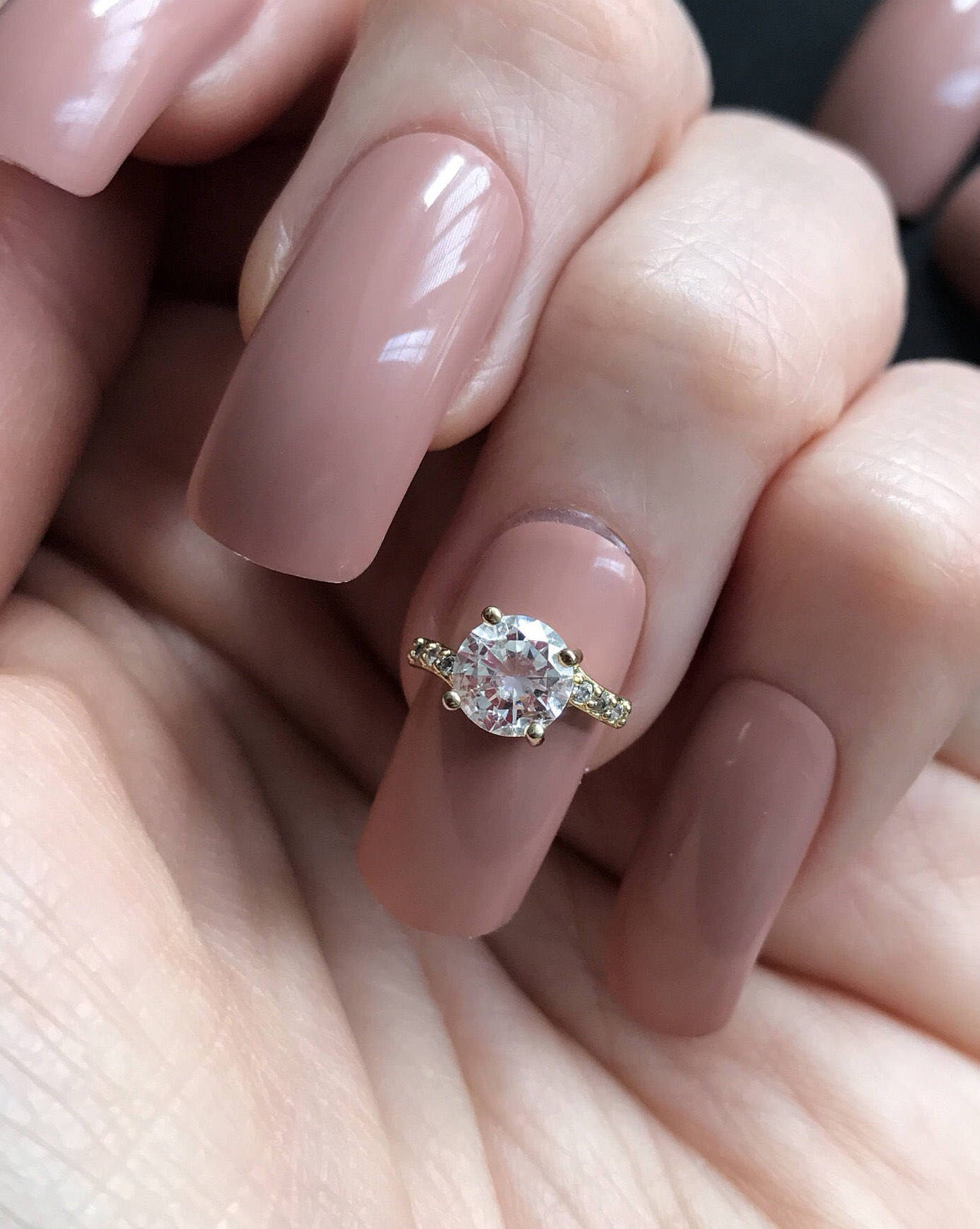 Stunning gold Zircon nail jewel diamond ring style nail art band