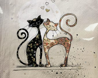 598 love cats Jane Crowther 1 towel paper 33 X 33 X 4 design