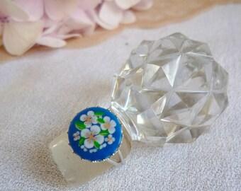 Vintage floral silver metal ring