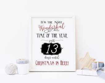 Most Wonderful Time of the Year - Advent Calendar Digital Print - Instant Download