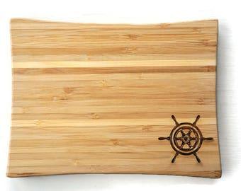 cutting board nautical, boating gift, boat decor, ships wheel, wood cutting board, bamboo cutting board, small cutting board, chopping block
