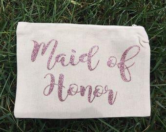Maid of Honor Makeup Bag - Wedding Makeup Pouch - Maid of Honor Gift - Bridesmaid Cosmetic Bag - - Bridal Party Bag