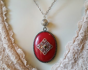 Red Vintage Style Necklace, Red Jade, Gunmetal, Silver Plated, Gypsy Necklace, Bohemian Style, Boho Necklace, Red Necklace, Red Jewelry