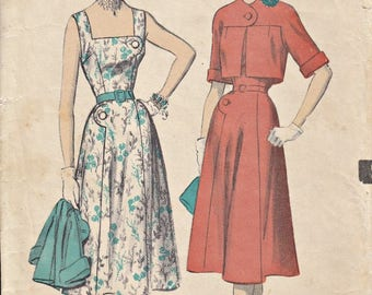 1950's Out of Print Sundress with Cropped Jacket Pattern ADVANCE 5840 Mrs. Maisel 50's Summer Ensemble Pattern Vintage Patterns  Bust 32
