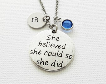 She Believed She Could Necklace, Graduation, Triathlon, Runner, Swarovski Birthstone, Silver Initial, Personalized, Monogram, Hand Stamped