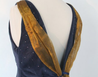 long evening dress 1930's style, vintage inspired blue velvet dress with rhinestones, open back retro dress, bespoke made to measure