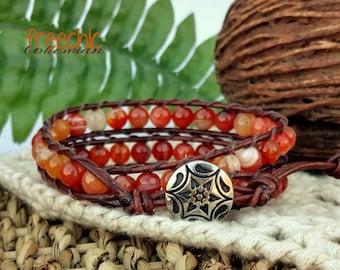 Orange Agate Stone Wrap Bracelet, Bohemian Wrap Bracelet, Bohemian Bracelet, Beaded Bracelet, Boho Bracelet, Leather Wrap Bracelet