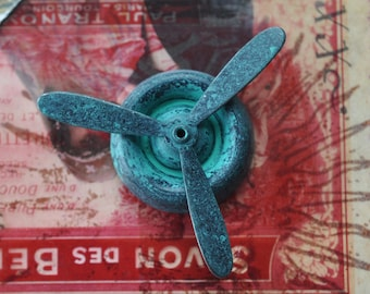 Steampunk propeller brass stamping, Verdigris Patina, Brass Stampings Made in the USA