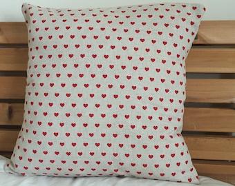 Love Heart Cushion Cover, Love Pillow Decor, 16'', Love Heart Cushion Cover, Red Love Heart Decor, Love Heart Pillow, Wedding Gift