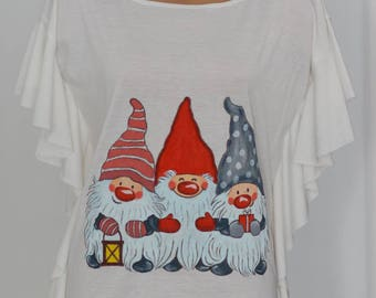 Hand painted dwarfs on woman blouse