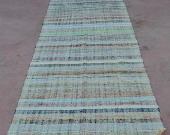 "Runner Kilim rug, 130"" x 44"", Vintage Turkish kilim rug,  area rug, kilim rug, Pastel area rug, vintage rug, bohemian rug,pastel kilim rug"