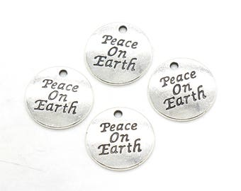 4 Pcs Peace on Earth Charms Antique Silver Tone 20x20mm - YD2436
