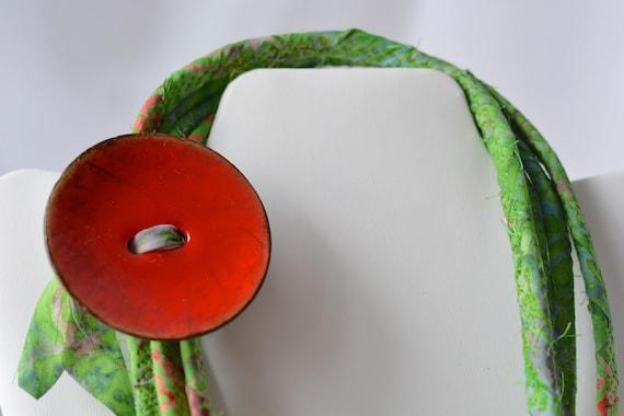 Summer Batik Necklace, Handmade Green Necklace, Multi Strand Infinity Necklace, Green Skinny Trendy Fiber Wrap Jewelry