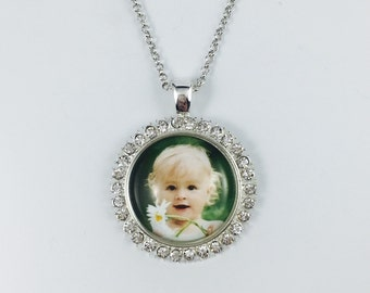 Silver Rhinestone Necklace or Key chain - Round - Personal Photo - Personalized Wedding Gift