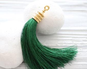 Gold cap dark green silk tassel, emerald, kelly green, long silk tassel, tassel pendant, decorative,green jewelry tassel, pagoda gold cap,N9