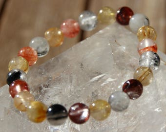 Rutilated quartz beaded bracelet