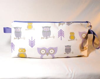 Lavender Owls Anna Clutch with Owl Bead