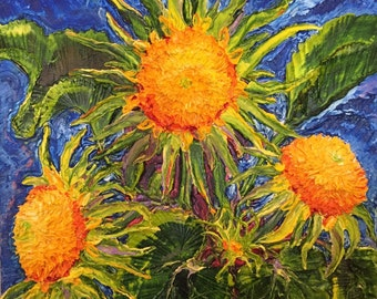 Teddy bear Sunflowers 20x20 inches Original Impasto Oil Painting by Paris Wyatt Llanso