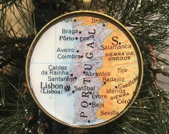 Portugal Map Christmas Ornament, Keep a memory Alive / HONEYMOON Gift / Wedding Map Gift / Travel Tree Ornament / Corporate gift
