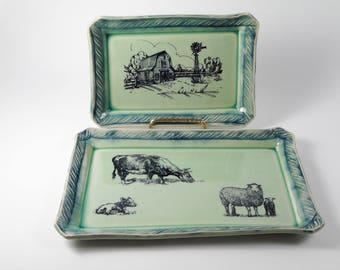 Farm tray set  - bath organizer -  serving tray set - jewelry organizer - desk accessories  T30