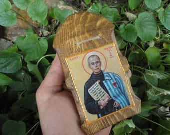 Saint Maximilian Kolbe Christian religion Hand Carving Wooden Icon Handmade