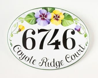 Pansies House name plaque, House number plaque, House numbers, Address plaque, Shabby chic house sign, Custom house sign