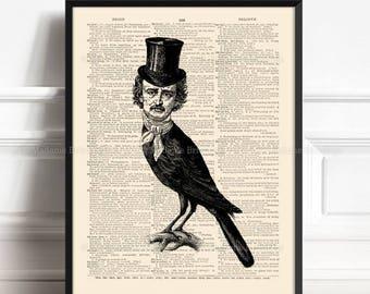 Allan Poe Poster, Edgar Allan Poe, Poe Black Raven, Wife Birthday art, Edgar Poe Gothic, Dorm Decorations, Nevermore, Funny Groomsmen 320
