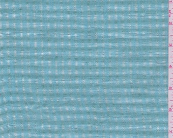 Turquoise/Jade Check Leno Linen, Fabric By The Yard