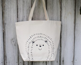 Hedgehog | Large | Eco-Friendly | Reusable | Shopping Bag | Market Bag | Tote Bag | Hand Painted | 100% Cotton Canvas | Made In USA