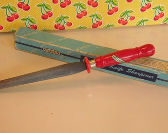 Vintage Norton Knife Sharpener - Sharpening Stone - Crystolon - Red Handle Kitchen Tool