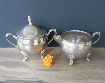 Vintage Silver plate Creamer and Sugar set, R MORGAN Silverplate, Ornate Sugar and Creamer, Footed Cream and Sugar Set,