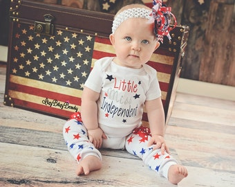 Little Miss Independent patriotic 4th fourth of July baby girls embroidered bodysuit headband