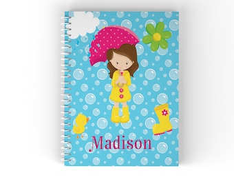 April Showers Personalized Notebook - April Showers Girl Pink Umbrella Blue Bubbles with Name, Customized Spiral Notebook Back to School