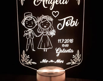 Wedding gift/ Wedding Led Lamp/ Personalised lamp/ Home decor/ Personalised gift/ Acrylic lamp