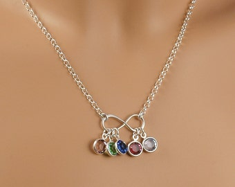 Infinity Necklace - with birthstones