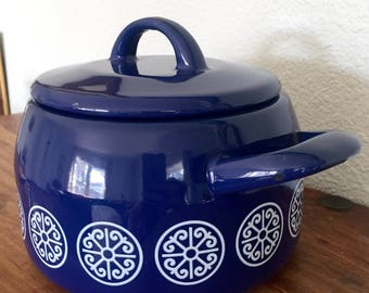 Vintage Enamel Pot with Lid Blue and White